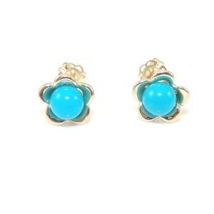 14K Yellow Gold Faux Turquoise Flower Stud Earring